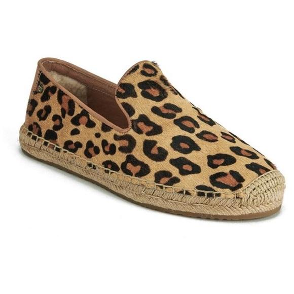 130a5a1893f UGG Sandrine Calf Hair Leopard Loafer Espadrille